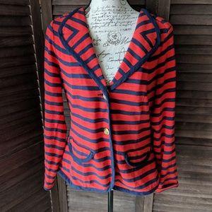 CAbi Red & Navy Striped Blazer-M